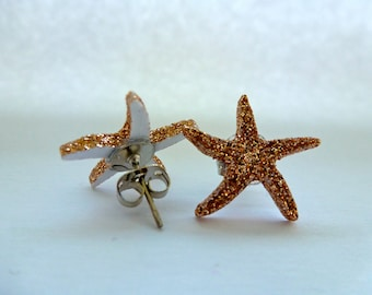 Starfish Stud Earrings: Under the Sea, Sea Creature, Sparkle, Animal Earrings, Button Earrings, Destination.