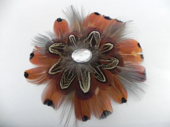 Pheasant Feather Flower Hair-clip/ Brooch