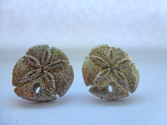 Sand Dollar Stud Earrings: Under the Sea, Sea Creature, Animal Earrings, Button Earrings, Starfish.