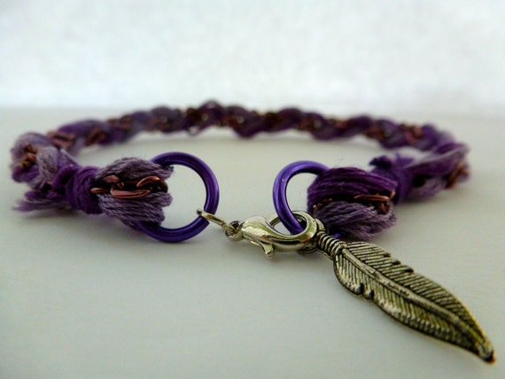 Braided Chain Friendship Bracelet: Feather Charm, Charm Bracelet, Multi, Layering, Modern.
