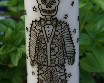Henna Day of the Dead Groom decorated candles, weddings, Dia de los Muertos, Halloween
