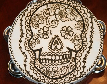 Henna Day of the Dead Sugar Skull  Tambourine