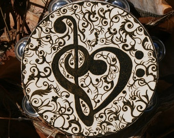Henna Treble and Bass Clef Heart Tambourine