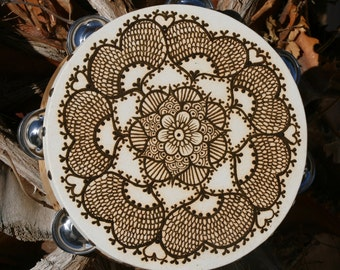 Henna Mandala Tambourine with intricate details and traditional henna motifs