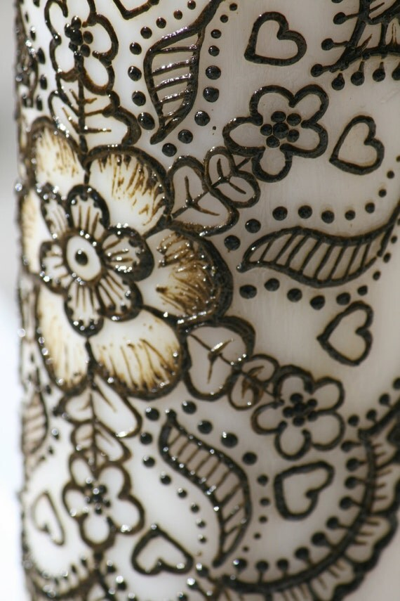 Henna Candle with Floral Mandala design, white pillar measures 6 inches high, and 2.8 inches in diameter