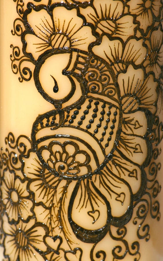 Mehndi Peacock Design : Henna peacock candle yellow pillar intricate