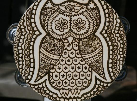 Owl Henna Tambourine