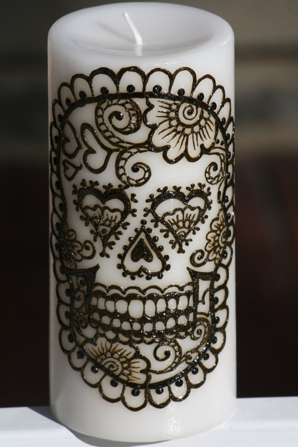Henna Sugar Skull Pillar Candle White Day of the Dead Dia
