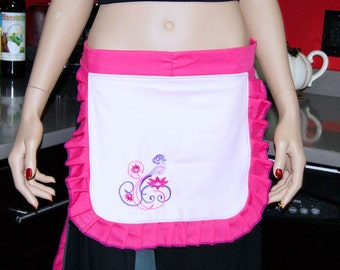 Neon Pink Peacock Embroidered Apron MTCoffinz --- Ready to Ship