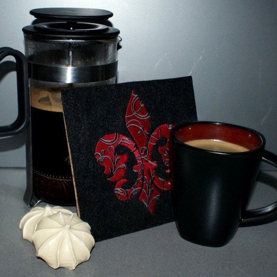 Fleur de Lis Embroidered Trivet Hot Plate Red Black MTCoffinz --- ready to ship