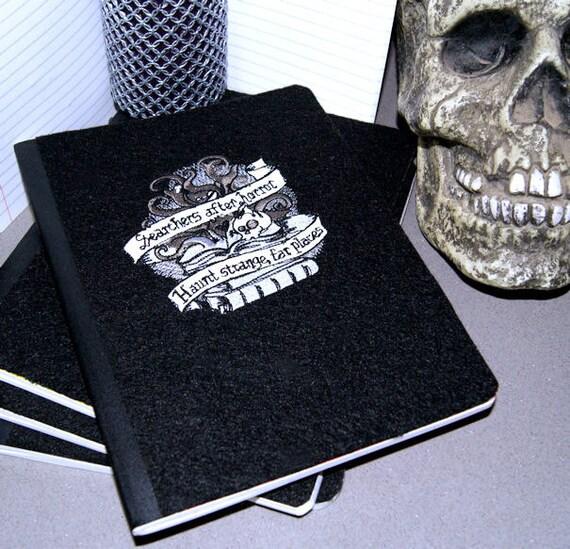 Horror Stories Skulls Embroidered Blank Journal Notebook MTCoffinz