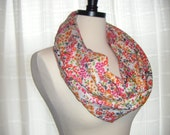 Infinity, Cowl Scarf in Floral Print with Red, Orange, Green, & Pink flowers by Scrapbugs