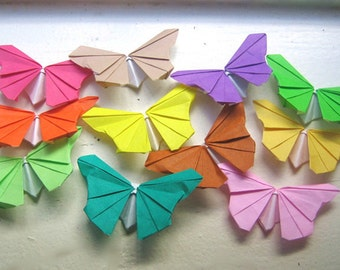 110 small  Multi-color Origami Paper Butterflies in 11 colors many colors card topper