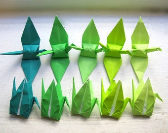 100 in 5 shades of green origami paper cranes wedding party decoration