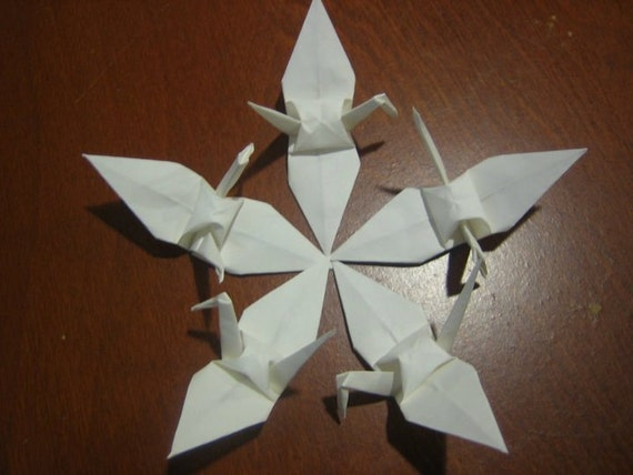 100 6 White Origami Paper Cranes Birds Wedding By