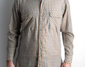Mens shirt - plaid button down shirt - 70s Levis mens shirt - brown plaid long sleeve shirt