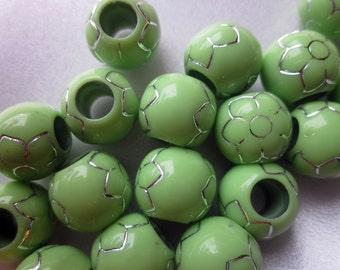 SALE - Light Green Acrylic European Beads 24 Beads 13mm