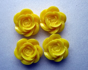 SALE - Yellow Resin Cabochon 18mm 4 Cabochons