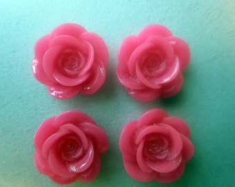 SALE - Pink Resin Flower Cabochons 18mm 4 Cabochons