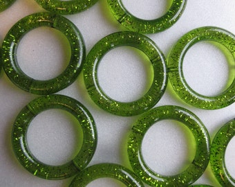 Green Acrylic Circle Beads 34mm 8 Beads