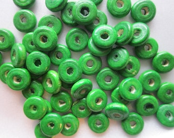 Green Wood Spacer Beads 10x4mm 10 Beads