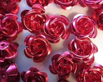 SALE - Aluminum Magenta Flower Beads 17mm 20 Beads