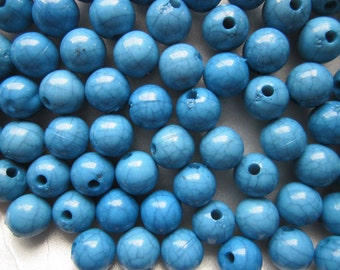 SALE - Blue Acrylic Beads Round Blue Plastic 10mm 20 Beads