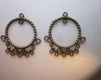 Antique Bronze Chandelier Component 37.5mm 4 Pendants