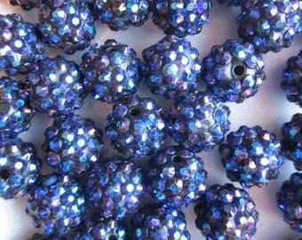 SALE - Blue Resin Rhinestone Beads 14mm 14 Beads
