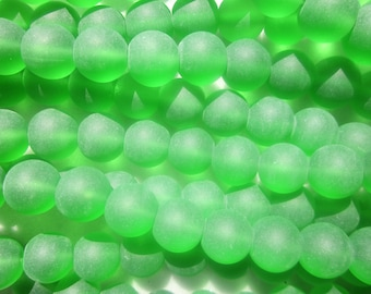 SALE - Green Frosted Glass Beads Round 12mm 20 Beads