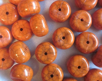SALE - Orange Acrylic Beads 18mm 20 Beads