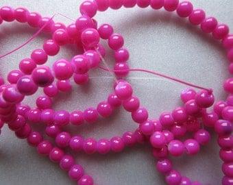 Fuschia Glass Beads 6mm 24 Beads