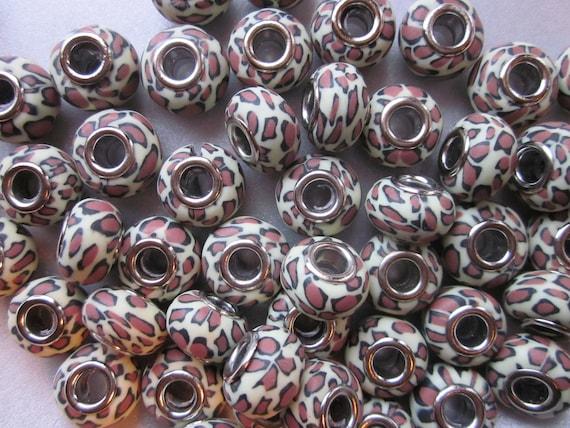 Leopard Print Polymer Clay European Beads 13mm 12 Beads