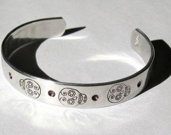 Mexican Sugar Skulls Stamped Aluminum Cuff Bracelet