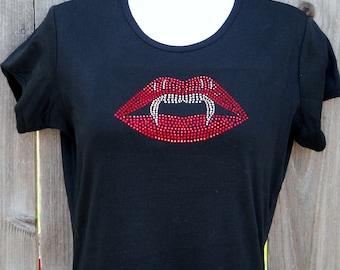 Women's rhinestone Vampire lips and fangs tshirt