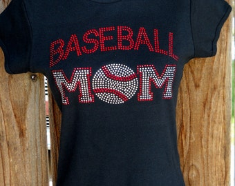 Women's rhinestone Baseball Mom shirt