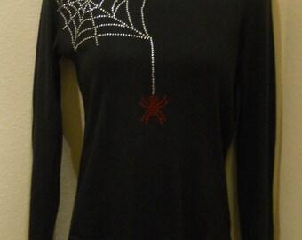 Women's rhinestone spider web with spider shirt