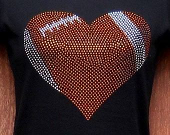 Women's rhinestone Football heart shirt