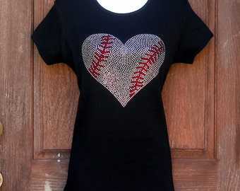 Women's rhinestone Baseball heart shirt