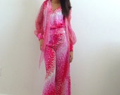 Vintage 70s Two-Piece Disco Psychedelic Pink, Red and White Blouse & Pants Suit, Size Extra Small-Small, 0-2
