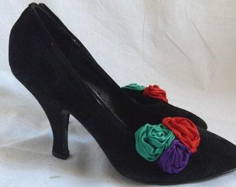 CLEARANCE 9.99 Vintage 80s Black Suede Heels, Black High Heels, Black Suede Shoes, Black Pumps, Size 7