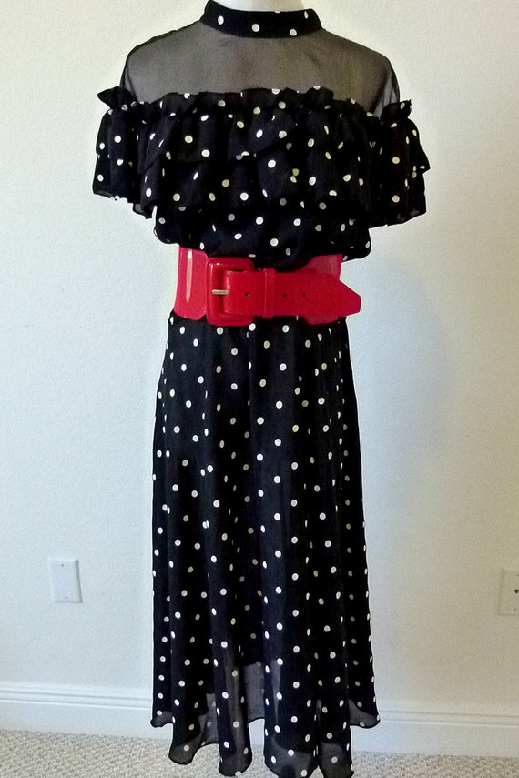 Vintage 80s French Action Black with White Polka Dots Ruffled Cocktail Party Day Dress Size Medium-Large