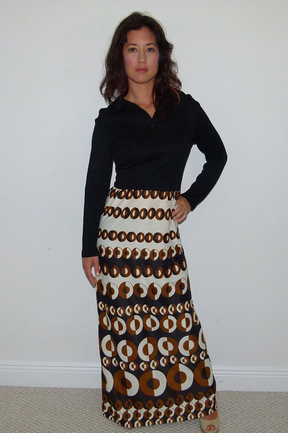 Vintage 60s Black, Brown & Off White Circle Geometric Pattern Long Sleeve Maxi Dress, Size Extra Small - Small XS S