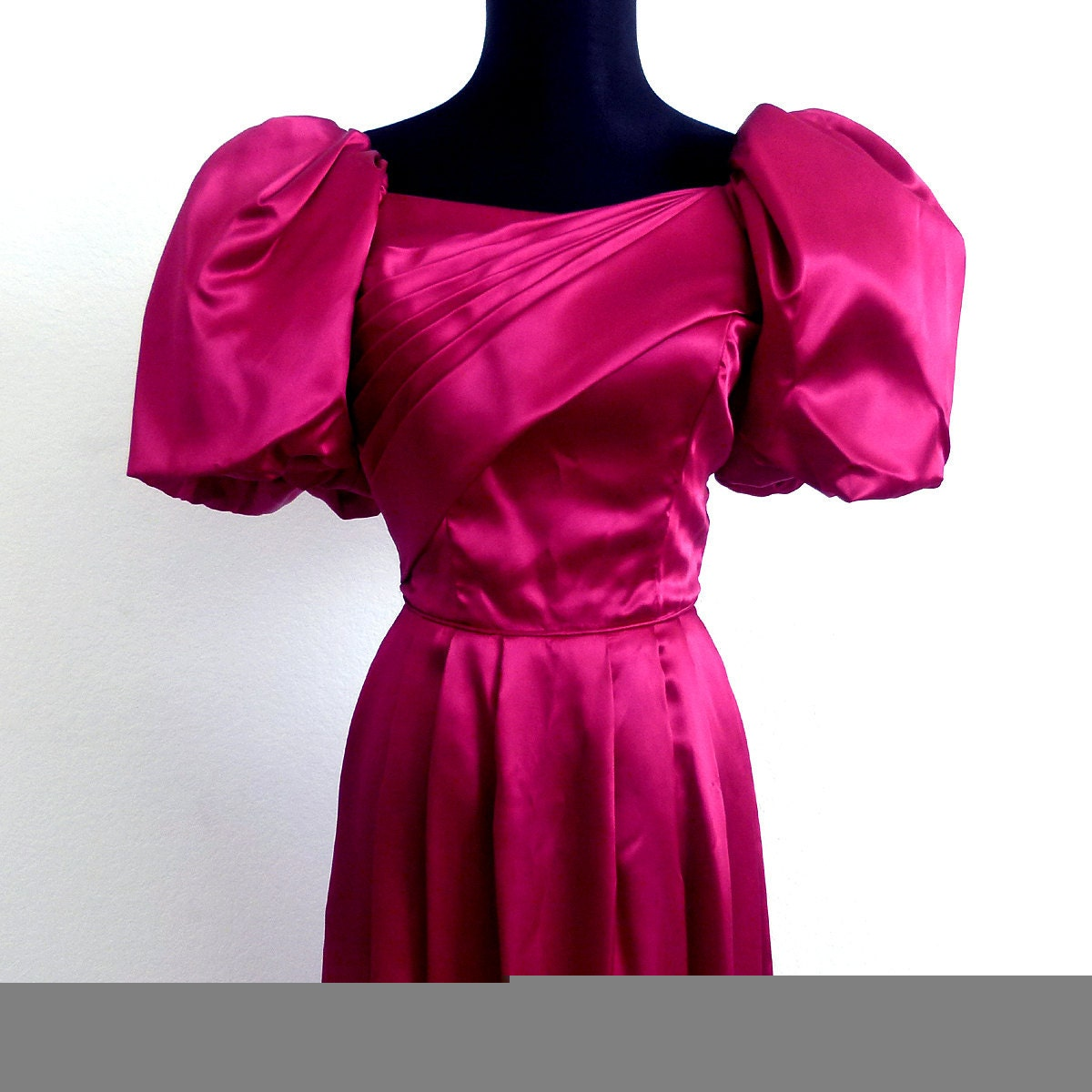 Vintage 80s Magenta Satin Puffy Sleeve Prom Bridesmaid Evening