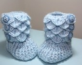 Crochet baby booties, baby blue, 0-6 or 6-12 months, crocodile stitch, Made to order, Keepsake