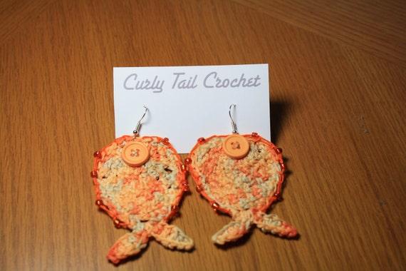 Fish Earrings PDF Crochet Pattern, mermaid earring pattern