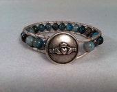 Blue Crazy Horse Jasper Beaded Wrap Bracelet for Self-esteem and Confidence