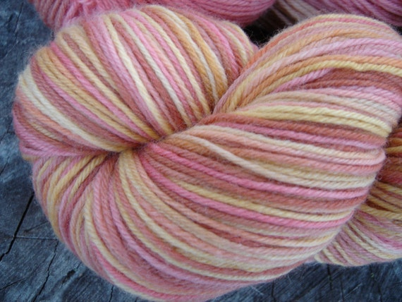 Hand Dyed Sock Yarn - Superwash Merino Cashmere Nylon - Pound Cake with Strawberries