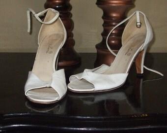 Vintage White Peep-Toe Ankle Strap