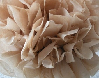 1 Tan Tissue Paper Pom Pom, Neutral Pom Poms, Wedding tissue paper poms, nursery decor, paper flowers